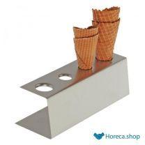 Support à gaufres à glace en acier inoxydable, 9,5 x 27,5 cm