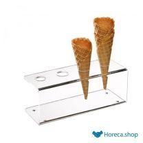 Support à gaufres à glace acrylique, 24,5 x 9,5 cm