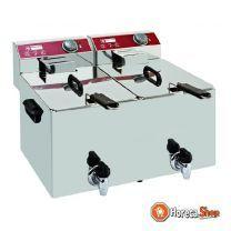 Elektrischer frittiertisch modell 2x 8 liter wasserhahn