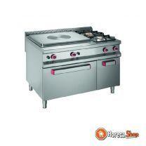 Doorkookplaat+2 branders op oven gn 2/1+kast