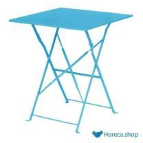 Vierkante opklapbare stalen tafel turquoise 60cm