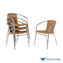 Aluminium en rotan stoel naturel
