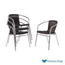 Aluminium en rotan stoel zwart