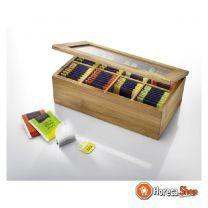 Theedoos 8-vaks met magneetsluiting hout/glas