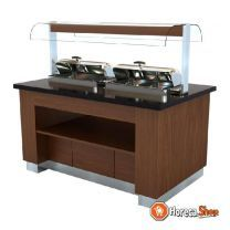 Warm buffet wenge 1600  met 2x 1/1gn chafing dish