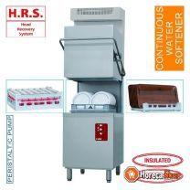 Lave-vaisselle avec hotte, panier 500x500 mm, récupérateur de condenseur de vapeur adoucisseur continu