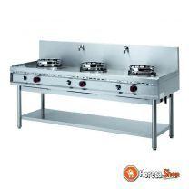 Poêle à gaz wok, 3 feux (3x 15 kw)