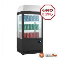 Mini koelvitrine - zwart - 58 liter - verlicht display - 43x39x(h)93cm