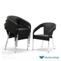 Kunststof rotan stoel zwart