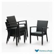 Kunststof rotan stoel met armleuning antraciet