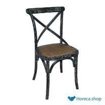 Holzstuhl mit gekreuzter rückenlehne schwarz waschen 2 stück