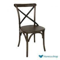 Bolero houten stoel met gekruiste rugleuning walnoot 2 stuks