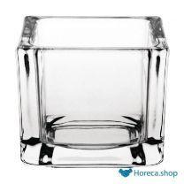 Glazen theelichthouders vierkant transparant