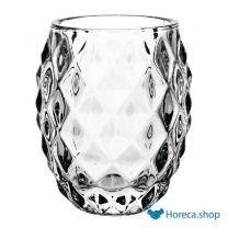 Olympia glazen theelichthouder transparant diamant 7