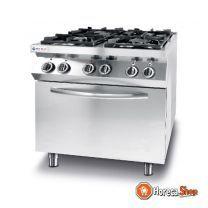 Gasfornuis 4 pits hetelucht oven - gn 1/1