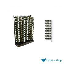 Zwart metalen presentatiesysteem visiostyle - 4x12 niveaus - 144 flessen