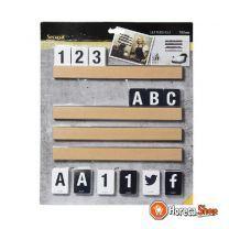 Letterbord teak   incl. letters en cijfers   1m plank
